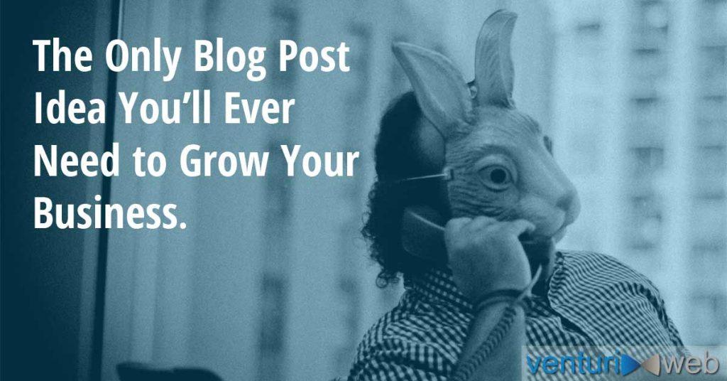 Rabbit man on phone thinking about blog post idea