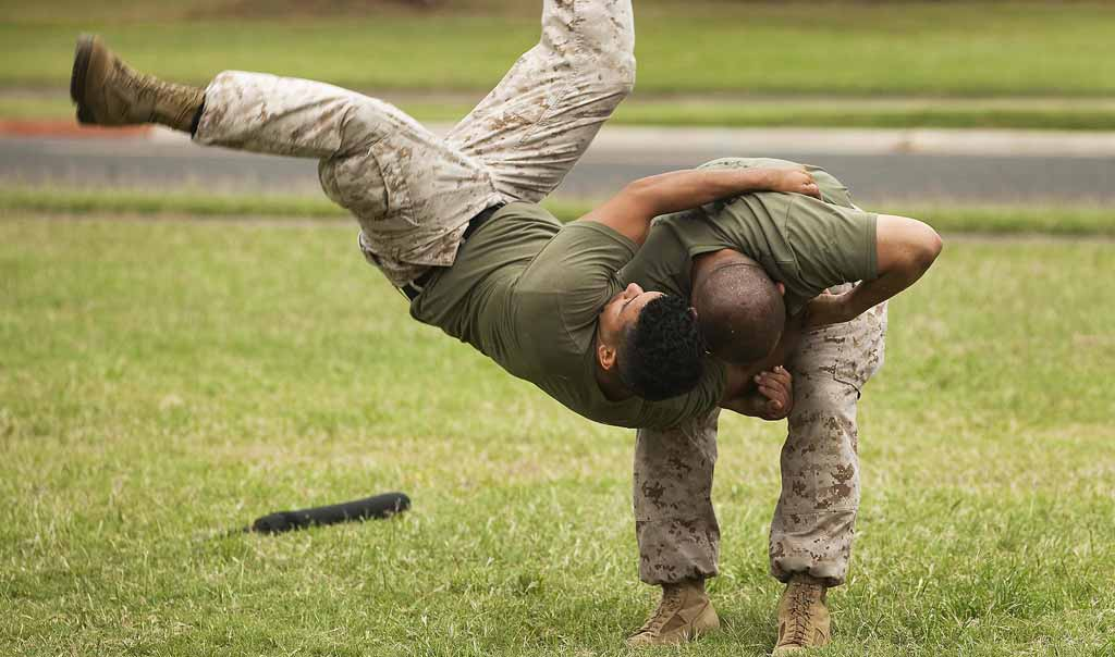 Hand-to-hand combat photo showing the leverage in a body throw.