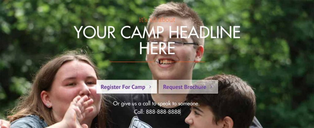 Screenshot of a summer camp marketing tactic.